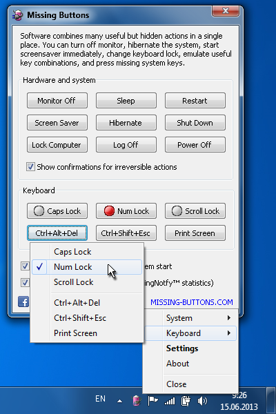 Screenshot of Missing Buttons software